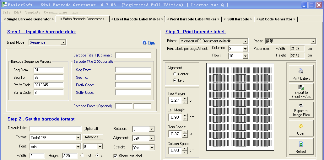 Sequence barcode generator
